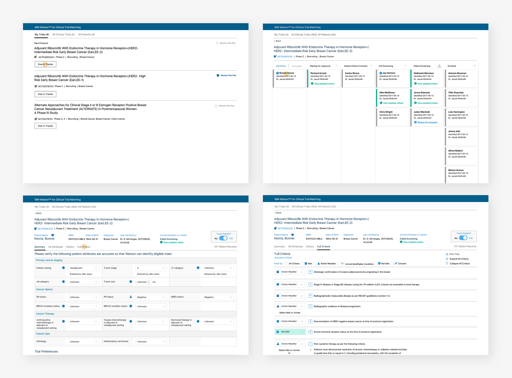 Tracker wireframes
